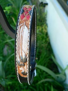 Tooled Leather Dog Collar by AcrossLeather on Etsy