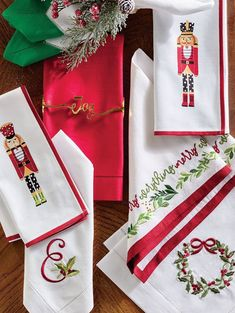 The most festive of dinner guests, holiday nutcrackers are handpainted on woven cotton. The Nutcracker Dinner Napkins are adorned in cheerful polka dots and stripes and arrive wrapped in a red silk ribbon, ready to make a merry table or a charming gift. Nutcrackers, Dinner Napkins, Woven Cotton, Red Silk, Silk Ribbon, Tea Towels, Festive, How To Memorize Things, Polka Dots