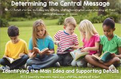 Determining the Central Message and Identifying the Main Idea and Supporting Details (RL 1.2, RI 1.2)