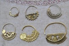 Africa | Gold Nose rings | Nubian women would have worn these from the South of Egypt | ca. early 1900s | 14k gold.