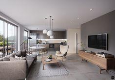 Real estate visualization on Behance Condo Living, Living Room Sofa, Home Living Room, Interior Design Living Room, Living Room Designs, Living Room Decor, Apartment Interior, Apartment Design, House Design