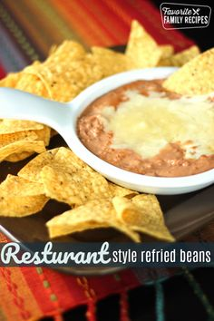 Cheater Restaurant Style Refried Beans have a yummy, restaurant like, creamy consistency and flavor. I always use this for a side to our Mexican dishes. via Favorite Family Recipes Mexican Dishes, Mexican Food Recipes, Mexican Cooking, Ethnic Recipes, Canning Refried Beans, Homemade Refried Beans, Mexican Restaurant Refried Beans Recipe, Mexican Rice Recipe Restaurant Style, Gastronomia