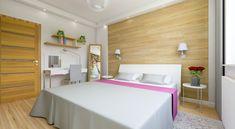 Przytulna sypialnia. Styl nowoczesny. Ekskluzywny apartament. Drewno na ścianie. Bedroom wall