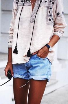 #spring #outfits  Embroidered Tassel Tunic + Bleached Denim Shorts