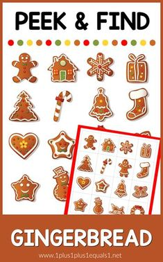 Peek & Find Gingerbread Free I Spy Printable for Christmas from Fun Educational Games, Kids Learning Activities, Motor Activities, Preschool At Home, Preschool Kindergarten, Toddler Preschool, Preschool Ideas, Free Christmas Printables, Free Printables
