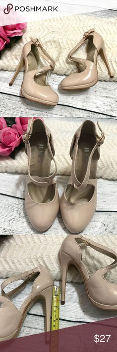 "Jumex Beige Criss Cross Ankle Strap Pumps sz 5 New with box and bag; Slim heels; Heel ht. 4.6"" Criss cross strap detail; Round toe; Jumex Shoes Heels"