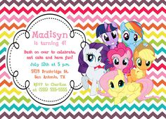Custom, Personalized My Little Pony Rainbow Chevron Birthday Invitation with all the ponies!