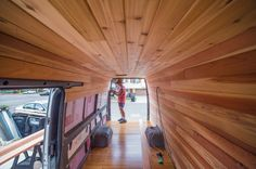 Cyrus Sutton: Sprinter Conversion — Vanlife This is to show rails on sides - good for installing bedding and other anchoring of items. Not sure I like the entire van being wood paneled.