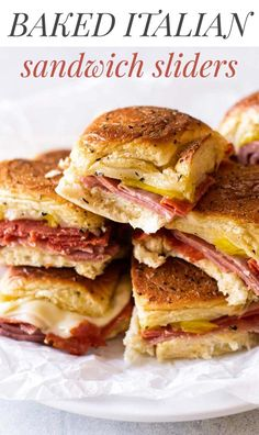 Easy Baked Italian Slider Sandwiches These Italian sandwich sliders have three kinds of salami with melted provolone and a tangy kick from banana peppers. They're easy to assemble and bake in the oven until they're toasty-hot! Mini Sandwiches, Appetizer Sandwiches, Sandwiches For Dinner, Italian Sandwiches, Appetizer Recipes, Cheese Appetizers, Easy Sandwich Recipes, Appetizer Dinner, Easter Recipes