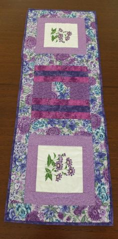 Quilted table runner, embroidered patchwork runner, floral lilac and purple table topper
