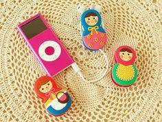 matryoshka earphone winder Matryoshka Doll, Kokeshi Dolls, Hello Dolly, Hello Kitty, Wooden Dolls, My Heritage, Hama Beads, Geek Stuff, Kawaii
