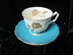 Aynsley Teal Blue and Gold Decor Cup and Saucer by Cupsofthepast