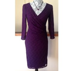 Chaps Purple Lace Dress Sz 4 NWT $110 Size 4.   Sophistication is yours with this Chaps dress.  Featuring a lace design, this dress is full of feminine charm. In purple. Product Features ·         Asymmetrical side ruching ·         V-neck ·         3/4-length sleeves ·         Fully lined Fit & Sizing ·         38-in. approximate length from shoulder to hem ·         Surplice neckline Fabric & Care ·         Shell: nylon/elastane ·         Lining: polyester ·         Hand wash ·…