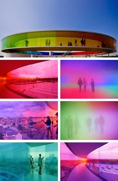 """Your Rainbow Panorama"" art instillation at the ARoS Art Museum, in Aarhus, Denmark. A rainbow colored glass circular walkway, atop the museum, created by Danish-Icelandic artist: Olafur Eliasson. Aarhus, Modern Art, Contemporary Art, Instalation Art, Olafur Eliasson, Light And Space, Light Installation, Light Art, Public Art"