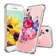 iPhone 7 Case, Clear iPhone 7 Case, MOSNOVO Peony Floral Flower Printed Clear Design Transparent Plastic Hard Slim Back Case with Soft TPU Bumper Protective Case Cover for Apple iPhone 7 (4.7 Inch)