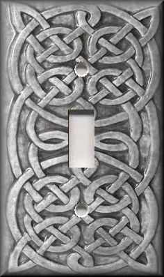 Light-Switch-Plate-Cover-Home-Decor-Celtic-Knot-Light-Grey