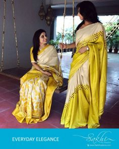 Get a unique look in this Beige & Yellow Pure Tussar Silk Saree in reverse rising cut work design on body. Cutwork Saree, Tussar Silk Saree, Cotton Saree, Georgette Sarees, Cotton Blouses, Indian Silk Sarees, Pure Silk Sarees, Ethnic Sarees, Sari Design