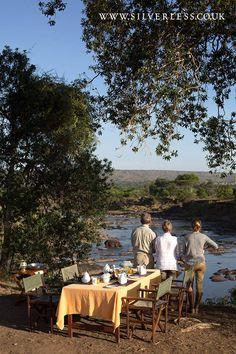 Stunning spot for a bush breakfast overlooking the Mara River Credit: Silverless