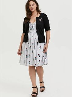 Her Universe Disney Retro Minnie Mouse Black Button Front Crop Cardigan Longline Cardigan, Ribbed Cardigan, Drape Cardigan, Hooded Cardigan, Cropped Cardigan, Plus Size Cardigans, Floral Sweater, Ribbed Fabric, Black Button
