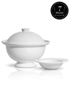 Conjunto para Sopa Scalla 7 peças Linha Milão Branco