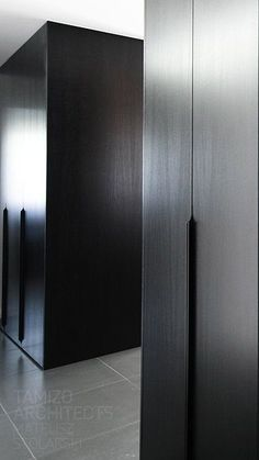 edge pull, dark finish on millwork Wardrobe Cabinets, Wardrobe Doors, Wardrobe Closet, Furniture Handles, Cabinet Furniture, Furniture Design, Home Interior Design, Interior Decorating, Tamizo Architects