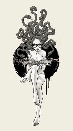 Medusa by Aleksandra Marchocka Medusa Kunst, Medusa Art, Medusa Tattoo, Medusa Drawing, Art And Illustration, Arte Sketchbook, Betty Boop, Dark Art, Oeuvre D'art