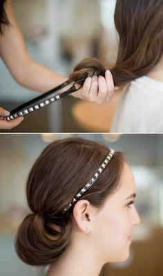 To copy this cool-girl look, roll your hair over an elastic headband before pulling it over your head to create a rolled tunnel bun effect.