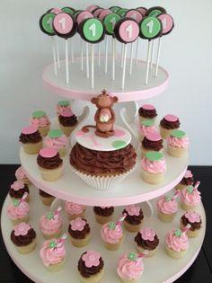 monkey birthday party cupcake tower