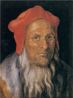 Portrait+of+a+Bearded+Man+in+a+Red+Hat+-+Albrecht+Durer