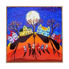 Little Trick or Treaters Halloween Night Framed Graphic Art