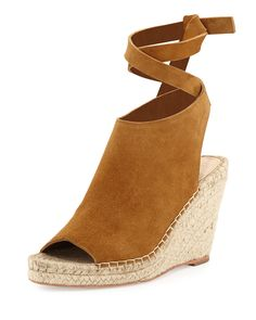 Lyra Suede Ankle-Wrap Espadrille Sandal, Sienna, Women's, Size: 7B/37EU - Loeffler Randall