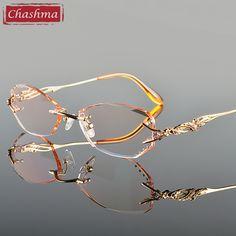 Chashma Luxury Tint Lenses Myopia Glasses Reading Glasses Diamond Cutting  Rimless Titanium Glasses Frame for Women-in Eyewear Frames from Women s  Clothing ... e99bb95ae5b1