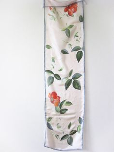 Long silk scarf, hand painted silk, Wedding accessory, Bridal scarves, silk gift, handmade floral scarf.  Long silk scarf hand painted with red roses and beautiful green shades leaves in very light flesh background. Scarf edging carthusian gray, hand rolled. This unique, very light, soft and