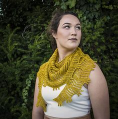 The shawlette is an elongated crescent shape and knit from the top down, starting with 3 stitches and ending with just over 300. Zig zags grow in size as they reach the hem and are tipped with a triple picot bind off. It's knit with a single skein of Superstar, so if you wanted to try out this delicious yarn, it could be a good project for you.