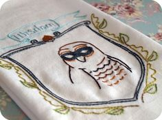 Wisdom embroidery pattern with masked owl.