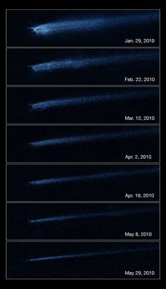 'X' Marks the Spot: Hubble Reveals Collision Between AsteroidsCredit: NASA, ESA and D. Jewitt (UCLA) [Full Story]The Hubble Space Telscope captures aftermath of asteroid collision in this series of photos taken between January and May 2010. The images show the object P/2010 A2, an X-shaped objected created by two colliding asteroids.