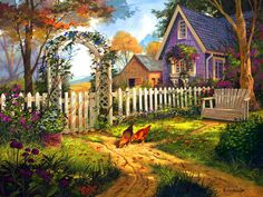 Penny Parker Art - Love this cottage with the white picket fence.