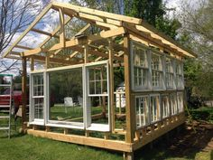 Organic Gardening Supplies Needed For Newbies Building A Greenhouse From Old Windows, Diy, Gardening, Outdoor Living, Repurposing Upcycling Build A Greenhouse, Greenhouse Gardening, Greenhouse Ideas, Outdoor Greenhouse, Outdoor Sheds, Old Window Greenhouse, Miniature Greenhouse, Homemade Greenhouse, Cheap Greenhouse