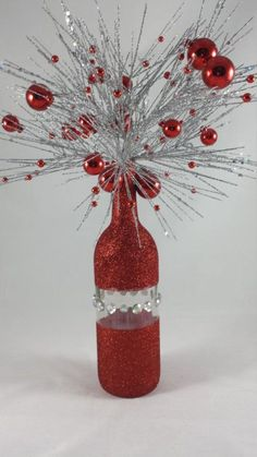 Decorative Bottles : red Christmas wine bottle by NorthShoreWineGirl on Etsy - Crafts Glass Bottle Crafts, Wine Bottle Art, Painted Wine Bottles, Diy Bottle, Beer Bottle, Glitter Wine Bottles, Bottle Lamps, Empty Wine Bottles, Glass Bottles