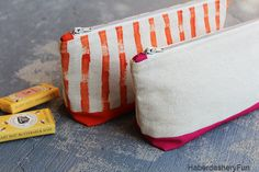 DIY.. Colorful Canvas Pouches - Love the shape and the paint like pattern