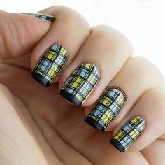 Plaid nails using Konad M60 plate and some jelly polishes to colour the squares in using the leadlight technique.