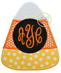"Candy Corn Monogram Applique Design For Machine Embroidery, Shown with our ""Empress"" Font NOT Included,  INSTANT DOWNLOAD now available by TheItch2Stitch on Etsy https://www.etsy.com/listing/191793687/candy-corn-monogram-applique-design-for"