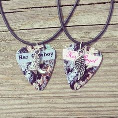 Her Cowboy boot His Angel wing silver charm guitar by Featherpick, $25.00