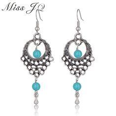 Hot Sale 2017 Ethnic Vintage Bohemian Beads Dangle Earrings Hollow Flower Earrings For Women Indian Jewelry
