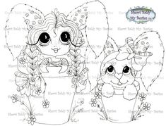 INSTANT DOWMLOAD Digital Digi Stamps Big Eye Big Head Dolls Digi img541  By Sherri Baldy