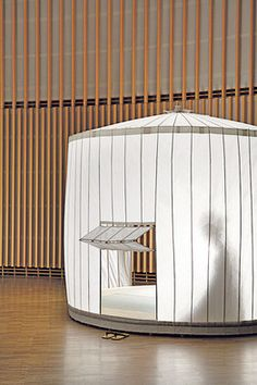 Umbrella tea house: This cloth-and-bamboo tent blends two traditions: umbrella-making and the tea ceremony. After tea time, it folds up like an umbrella. Made in Japan, Merrell