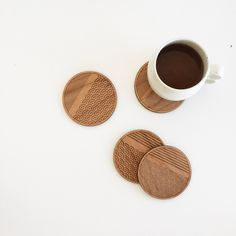 Scallop Stripe Pattern Coasters / Laser engraved & etched premium wood coasters