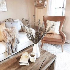 Recamier: know what it is and how to use it in decoration with 60 ideas - Home Fashion Trend Beige Living Rooms, Cozy Living Rooms, Home Living Room, Apartment Living, Living Room Furniture, Living Room Designs, Living Room Decor, White Couch Living Room, Rustic Apartment Decor