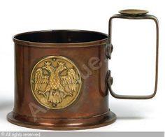 "FABERGÉ Karl (Carl), 1846-1920 (Russia) Title : ""Carl Faberge"" - Glashalter Date : 1915   Category : 20th Century Decorative Arts Medium : : Copper and brass  : Kupfer und Messing"