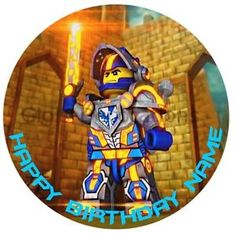 Lego Nexo Knights Personalised Edible Party Cake Decoration Topper ...